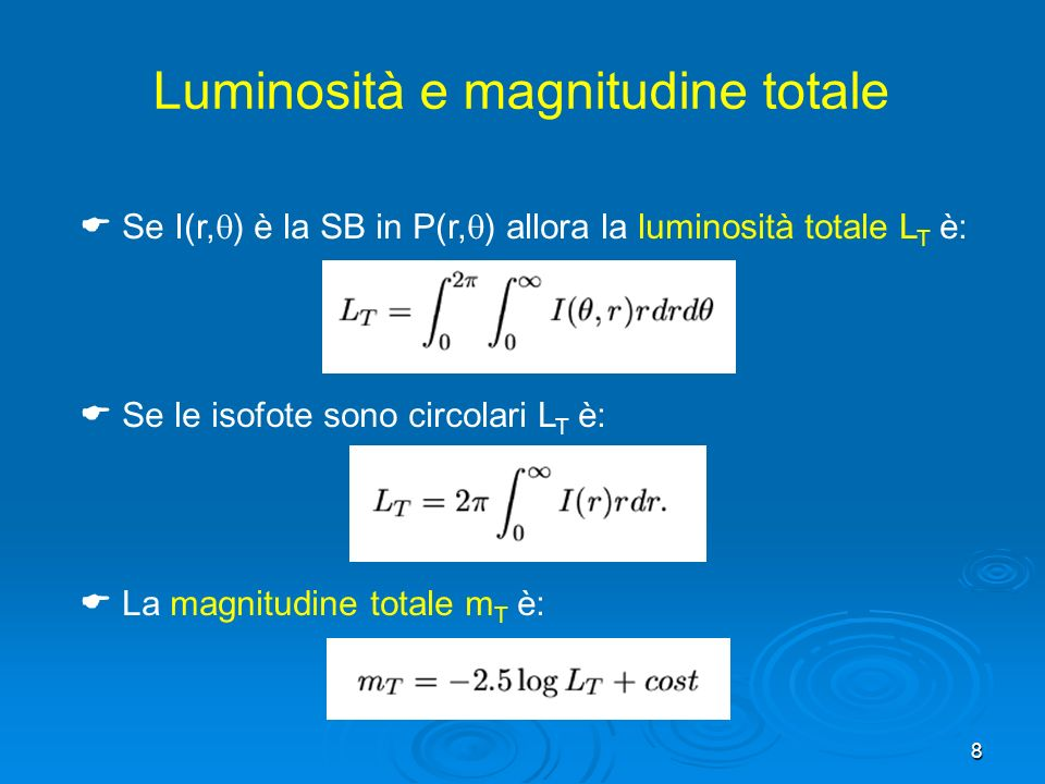 Luminosità e magnitudine totale