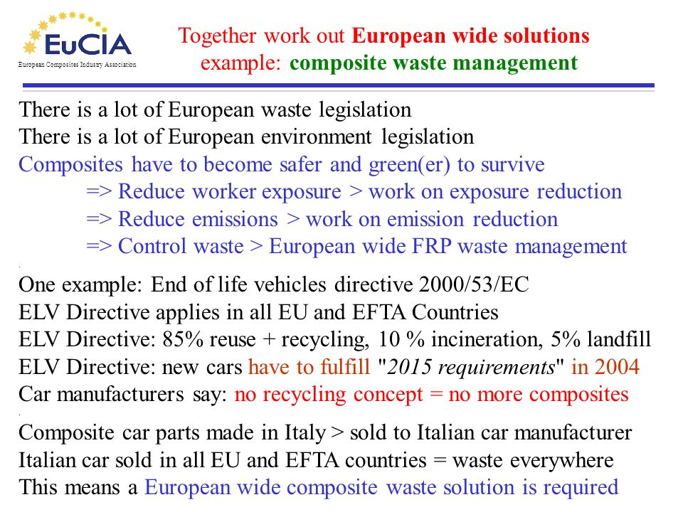 Together work out European wide solutions example: composite waste management