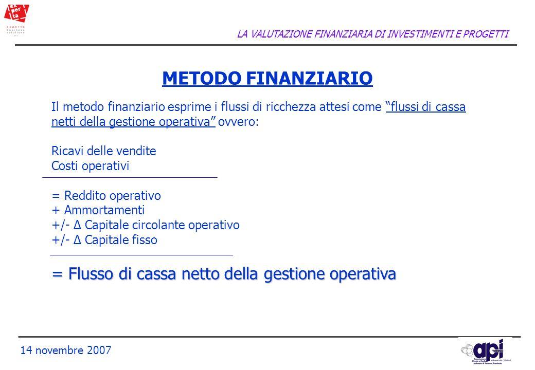 METODO FINANZIARIO = Flusso di cassa netto della gestione operativa