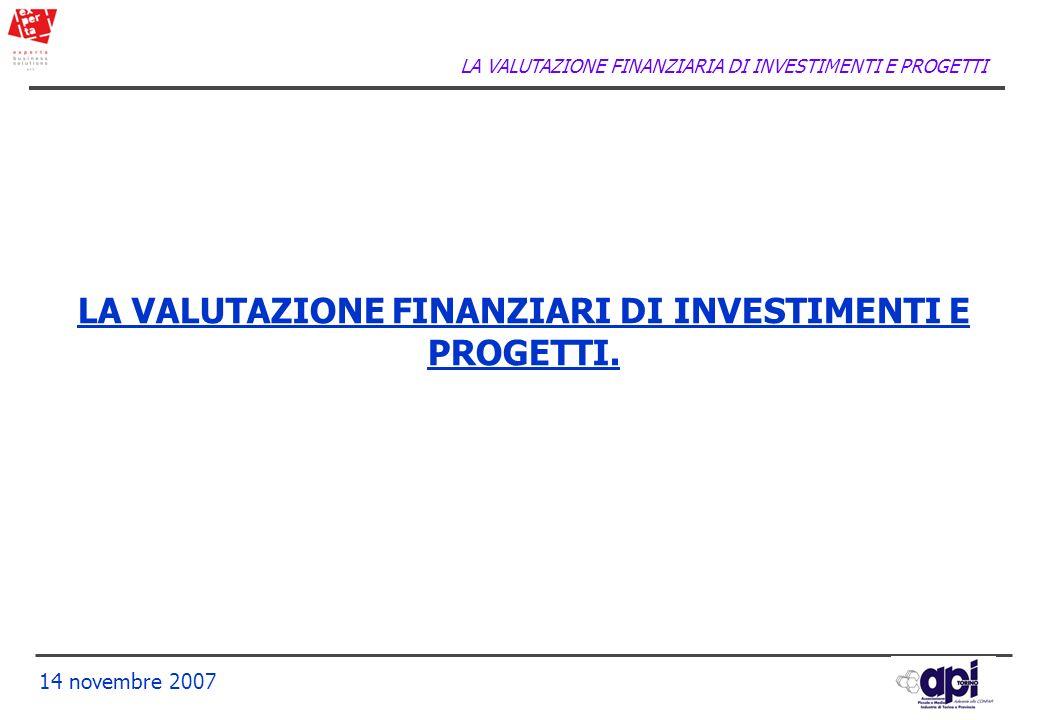 LA VALUTAZIONE FINANZIARI DI INVESTIMENTI E PROGETTI.