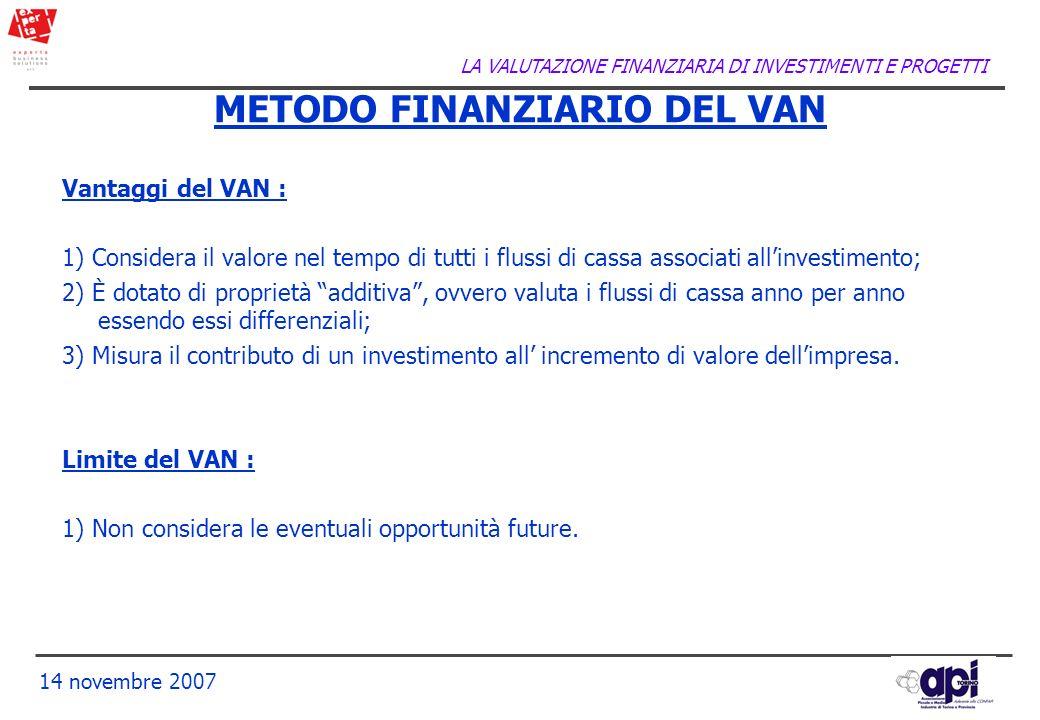 METODO FINANZIARIO DEL VAN