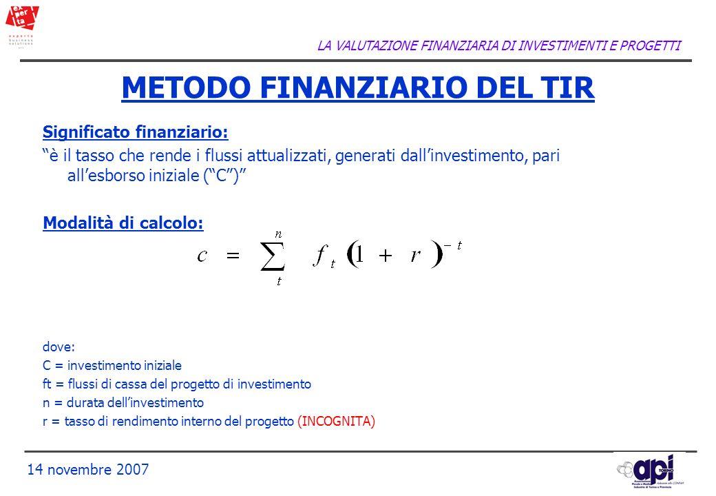 METODO FINANZIARIO DEL TIR