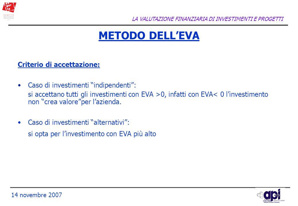 METODO DELL'EVA Criterio di accettazione: