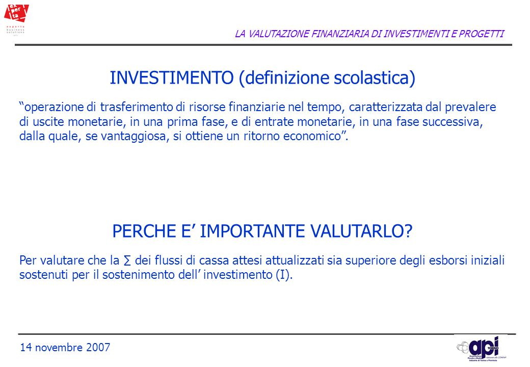 INVESTIMENTO (definizione scolastica)