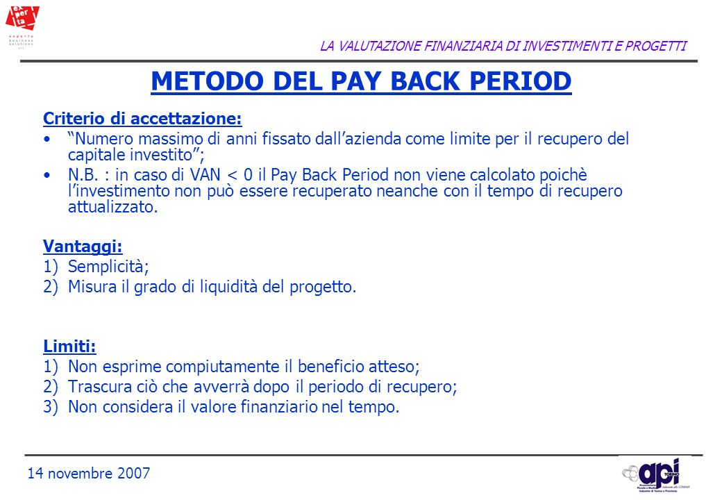METODO DEL PAY BACK PERIOD