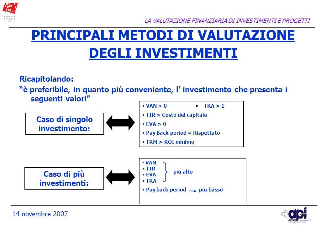 PRINCIPALI METODI DI VALUTAZIONE DEGLI INVESTIMENTI