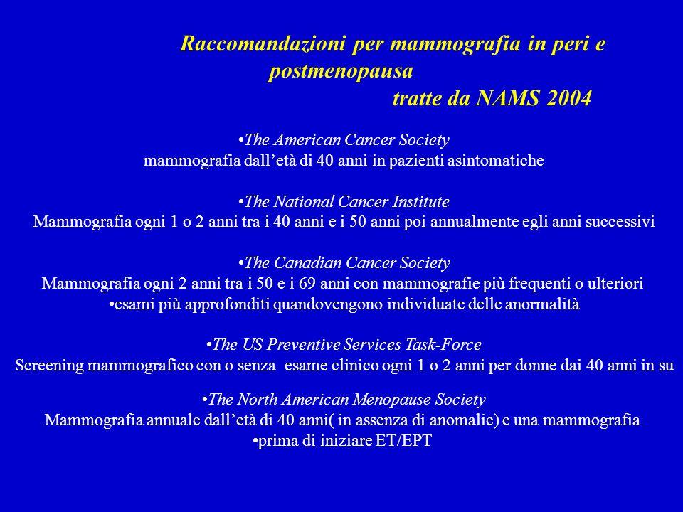 Raccomandazioni per mammografia in peri e postmenopausa