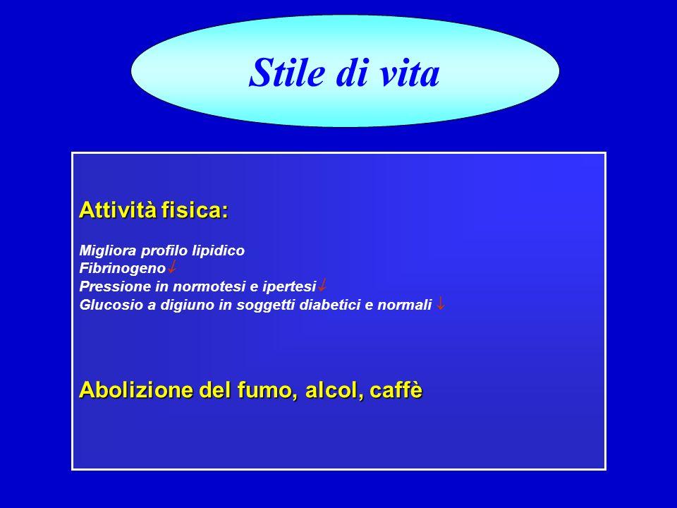 Stile di vita Attività fisica: Abolizione del fumo, alcol, caffè