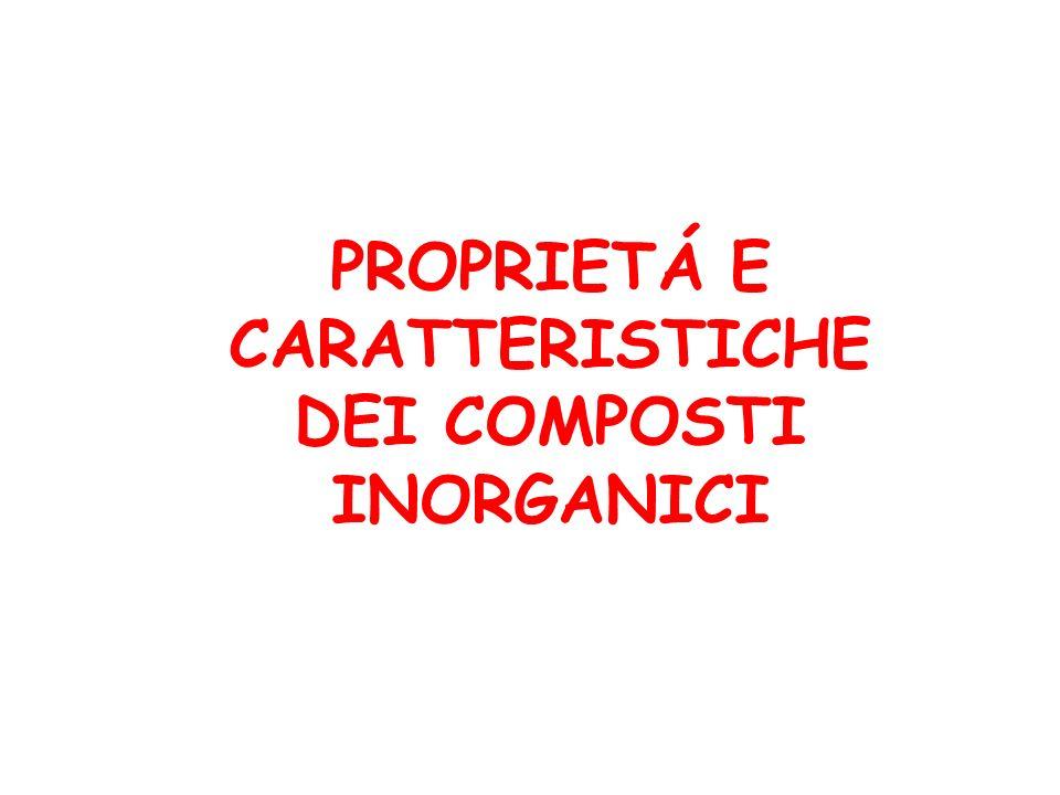 PROPRIETÁ E CARATTERISTICHE DEI COMPOSTI INORGANICI