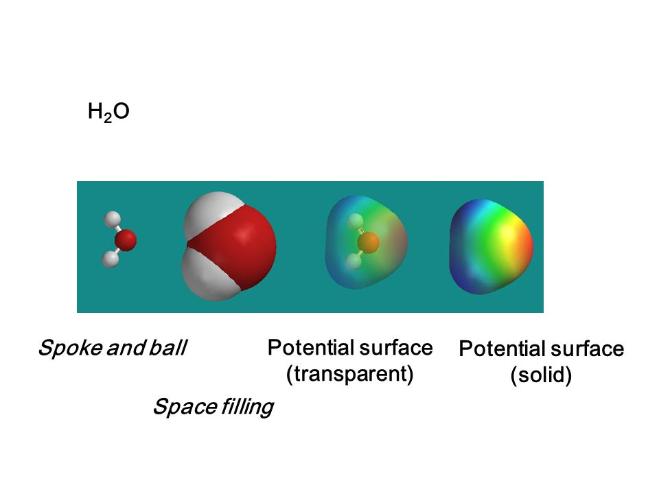 H2O Spoke and ball Potential surface (transparent) Potential surface (solid) Space filling