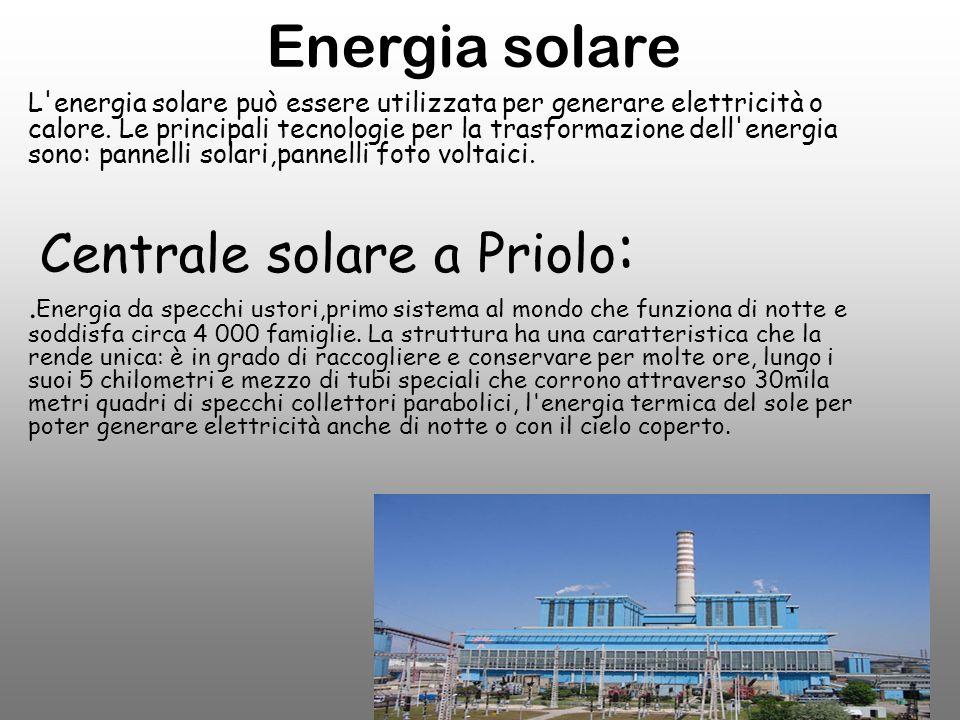 Energia solare Centrale solare a Priolo: