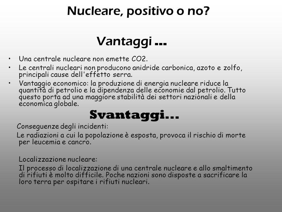 Nucleare, positivo o no Vantaggi …
