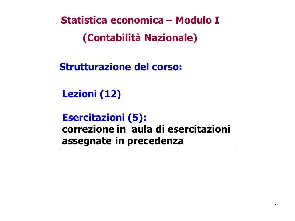 Statistica economica – Modulo I (Contabilità Nazionale)