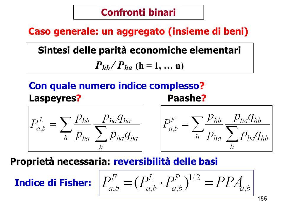Phb / Pha (h = 1, … n) Confronti binari