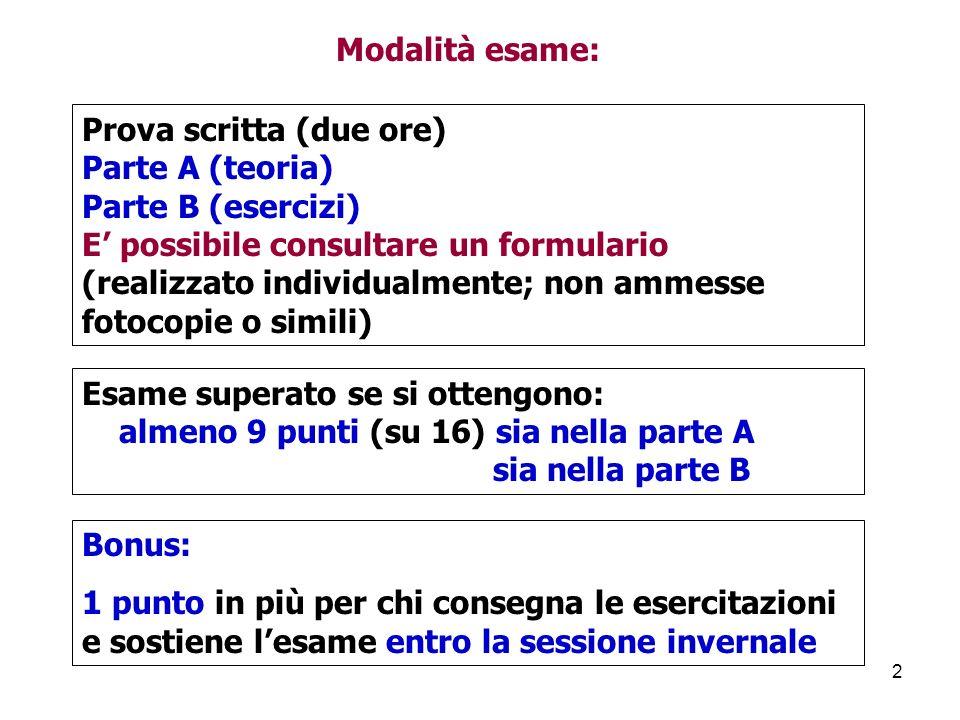 Modalità esame: Prova scritta (due ore) Parte A (teoria) Parte B (esercizi) E' possibile consultare un formulario.