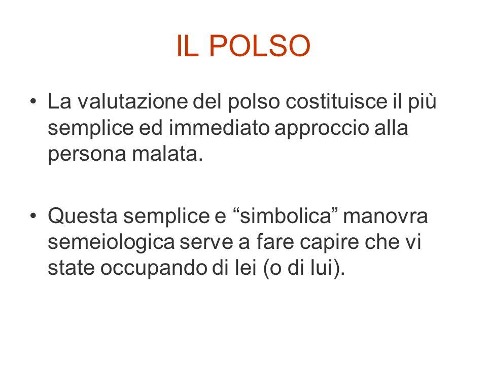 IL POLSO La valutazione del polso costituisce il più semplice ed immediato approccio alla persona malata.