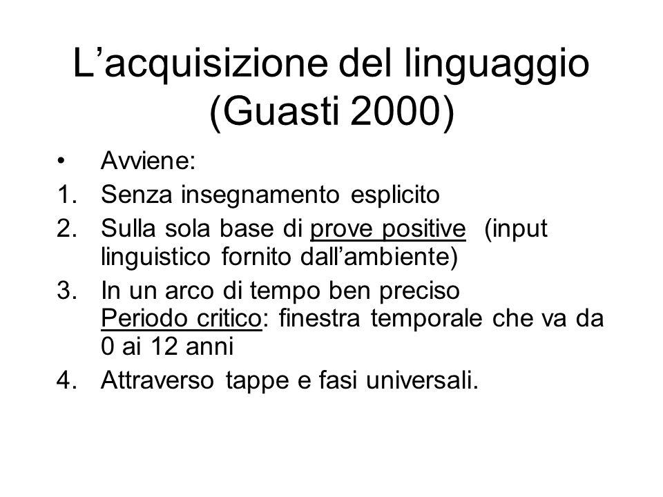 L'acquisizione del linguaggio (Guasti 2000)
