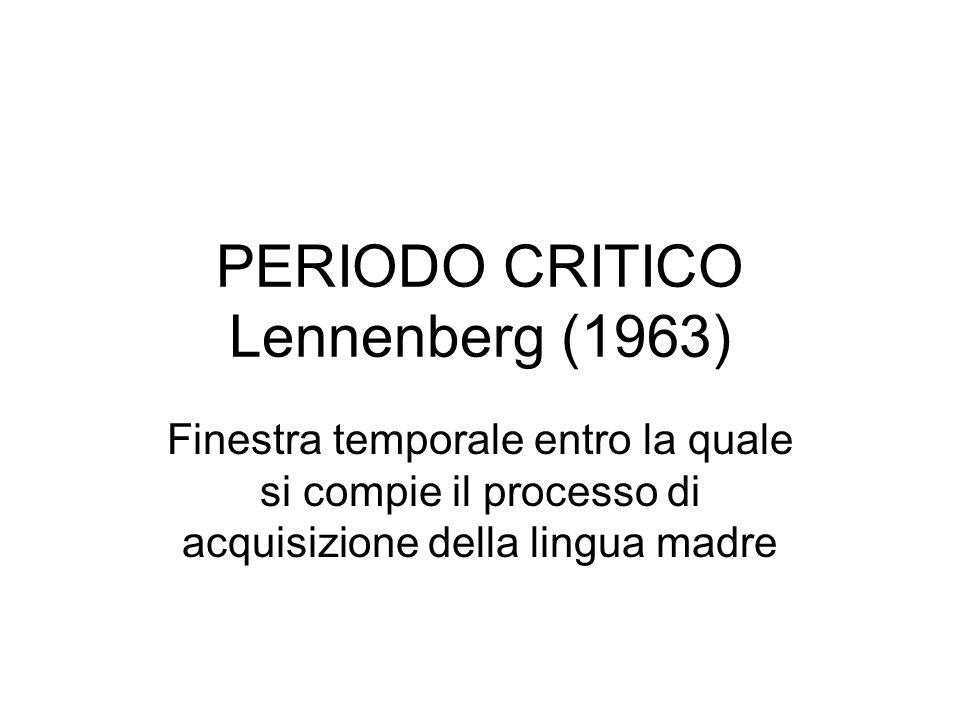 PERIODO CRITICO Lennenberg (1963)