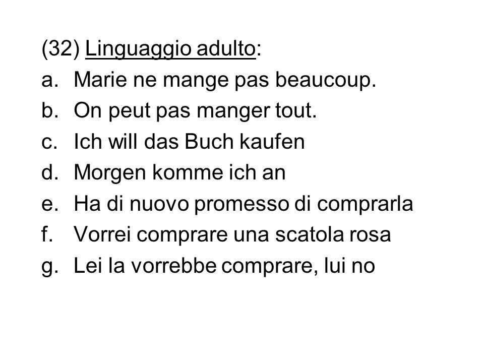 (32) Linguaggio adulto:Marie ne mange pas beaucoup. On peut pas manger tout. Ich will das Buch kaufen.