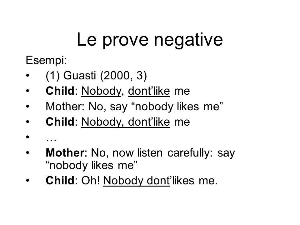 Le prove negative Esempi: (1) Guasti (2000, 3)