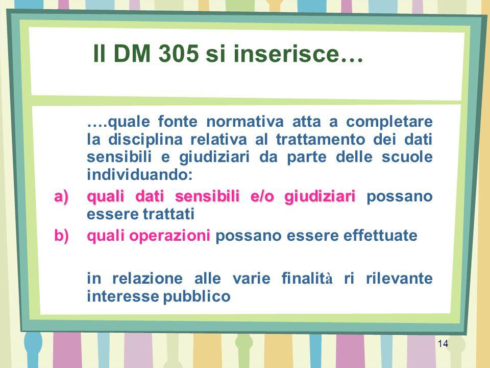 Il DM 305 si inserisce…