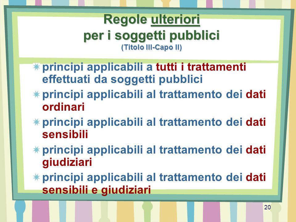 Regole ulteriori per i soggetti pubblici (Titolo III-Capo II)