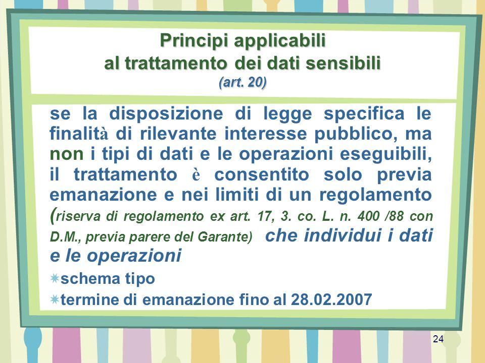 Principi applicabili al trattamento dei dati sensibili (art. 20)