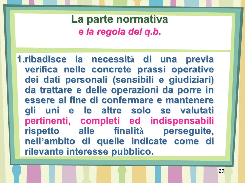 La parte normativa e la regola del q.b.