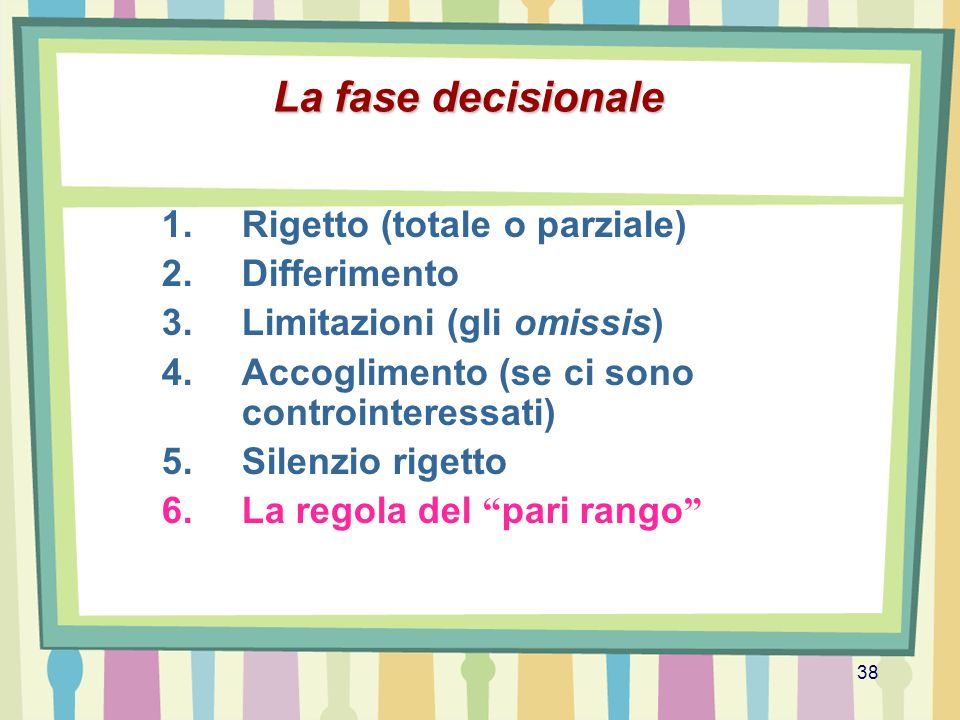 La fase decisionale Rigetto (totale o parziale) Differimento
