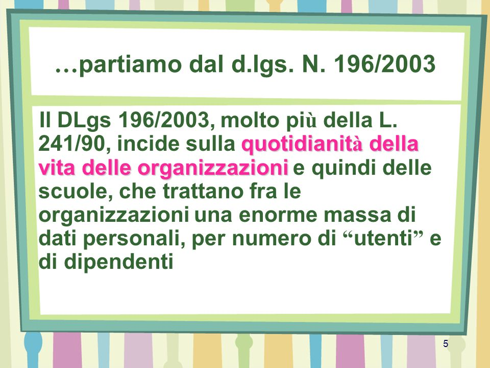 …partiamo dal d.lgs. N. 196/2003