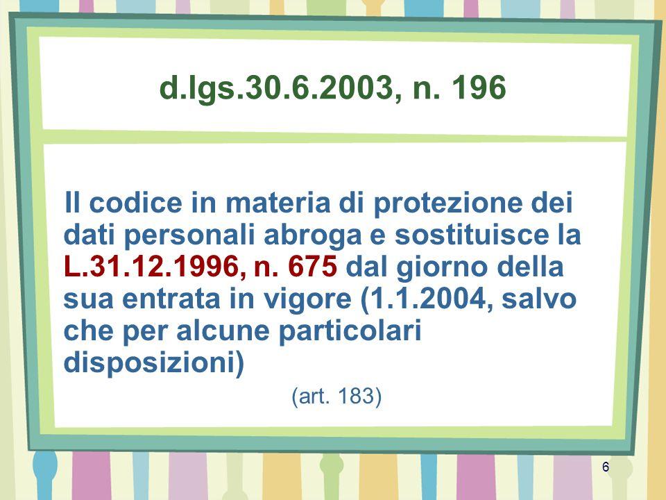 d.lgs.30.6.2003, n. 196