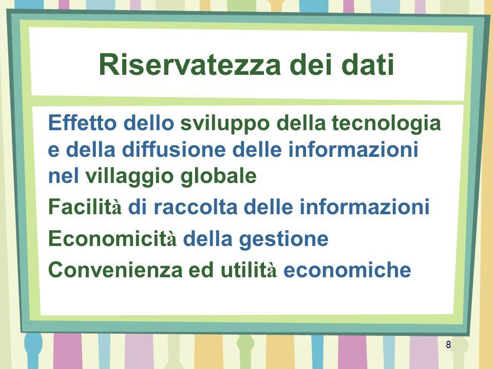 Riservatezza dei dati Effetto dello sviluppo della tecnologia e della diffusione delle informazioni nel villaggio globale.
