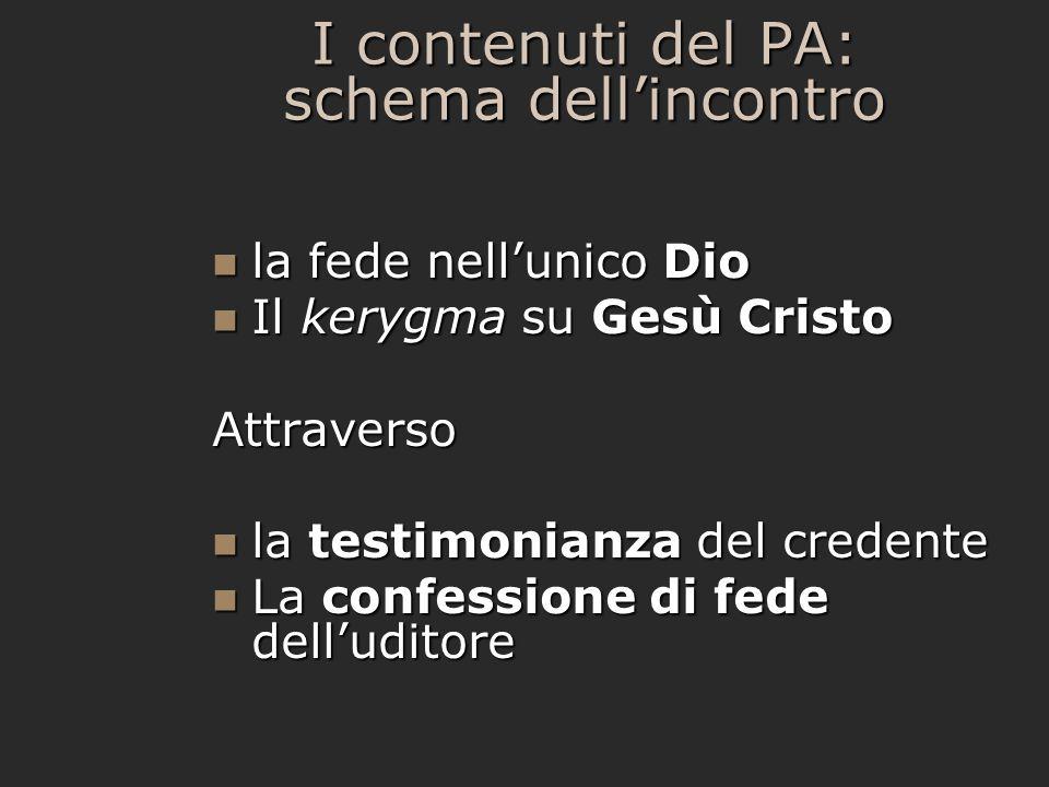 I contenuti del PA: schema dell'incontro