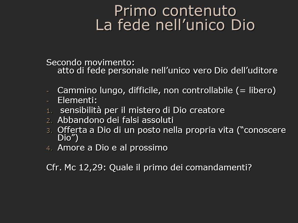 Primo contenuto La fede nell'unico Dio