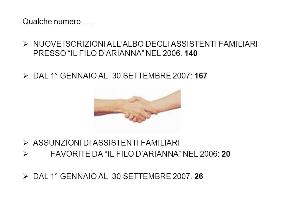Qualche numero….. NUOVE ISCRIZIONI ALL'ALBO DEGLI ASSISTENTI FAMILIARI PRESSO IL FILO D'ARIANNA NEL 2006: 140.