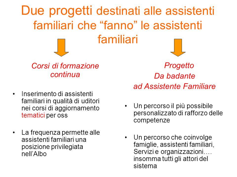 Due progetti destinati alle assistenti familiari che fanno le assistenti familiari