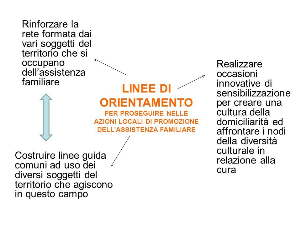 Rinforzare la rete formata dai vari soggetti del territorio che si occupano dell'assistenza familiare