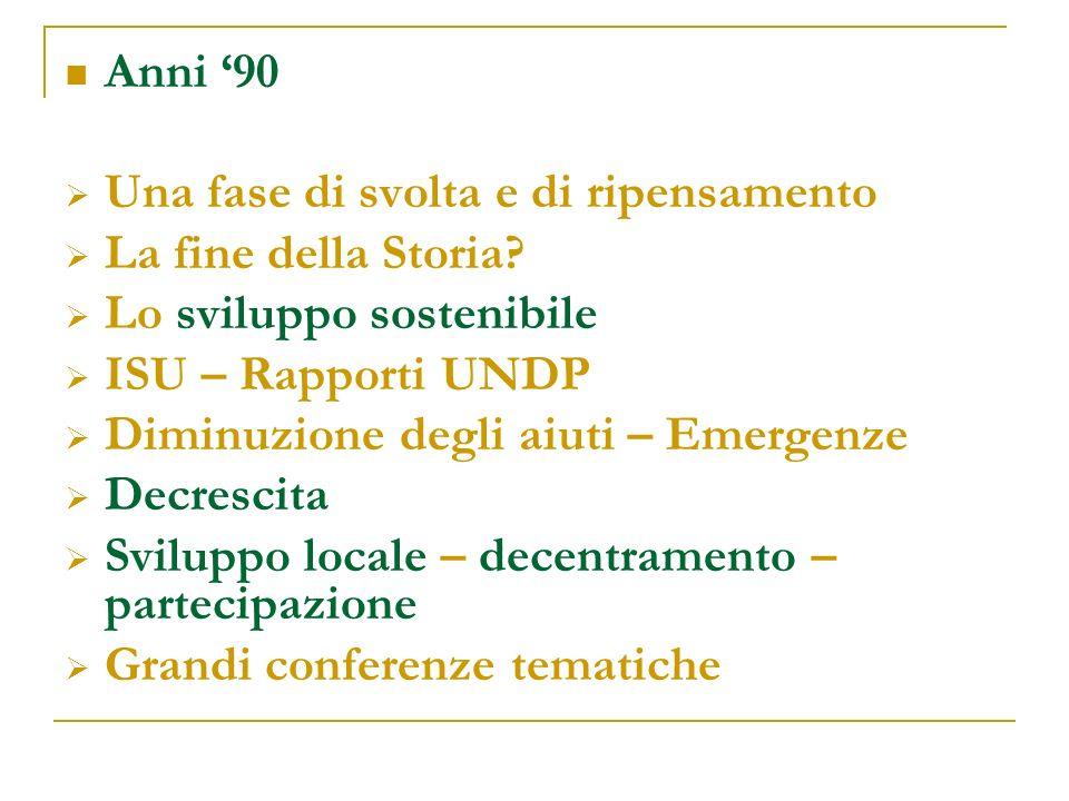 Anni '90 Una fase di svolta e di ripensamento. La fine della Storia Lo sviluppo sostenibile. ISU – Rapporti UNDP.