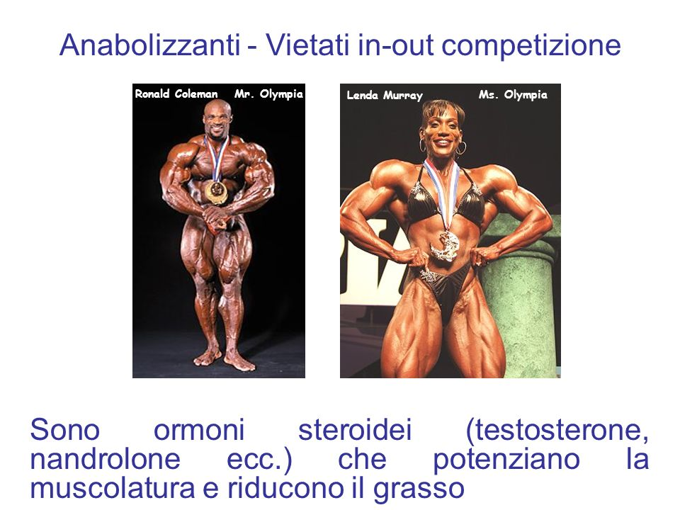 Anabolizzanti - Vietati in-out competizione