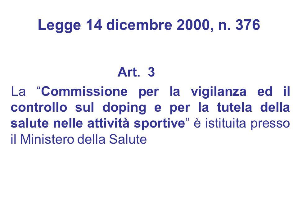 Legge 14 dicembre 2000, n. 376 Art. 3.