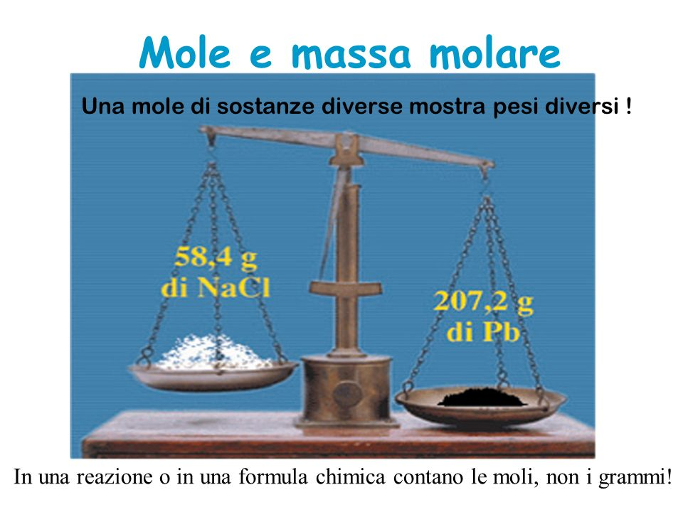 Una mole di sostanze diverse mostra pesi diversi !