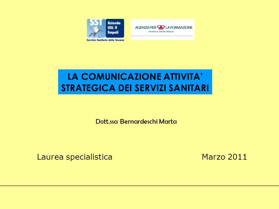 LA COMUNICAZIONE ATTIVITA' STRATEGICA DEI SERVIZI SANITARI