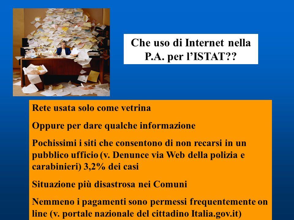 Che uso di Internet nella P.A. per l'ISTAT
