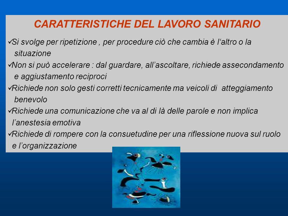CARATTERISTICHE DEL LAVORO SANITARIO