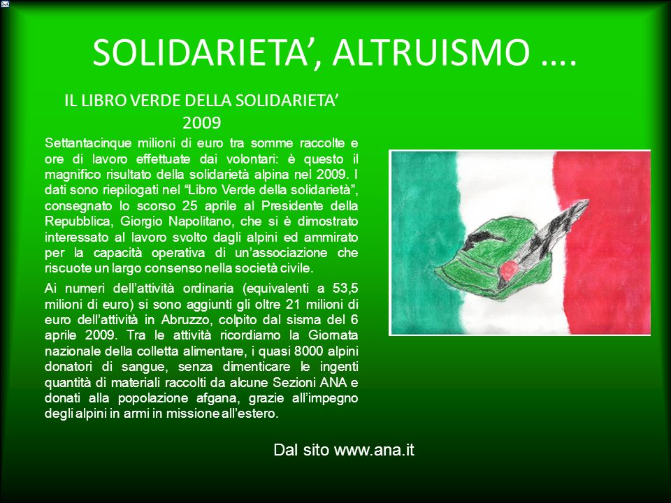 SOLIDARIETA', ALTRUISMO ….