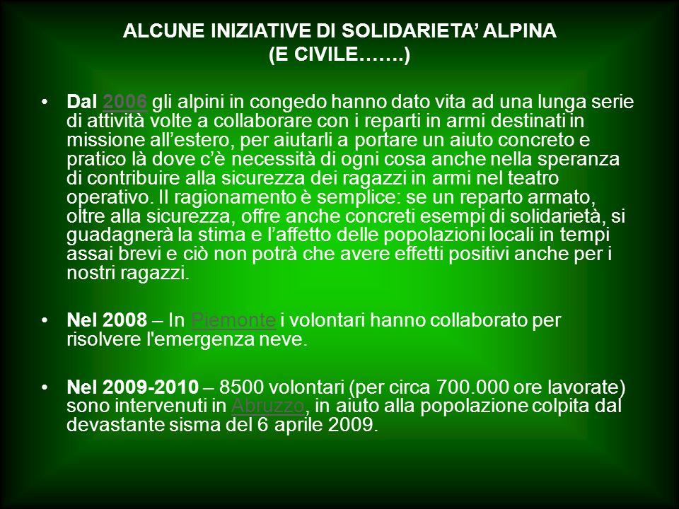 ALCUNE INIZIATIVE DI SOLIDARIETA' ALPINA