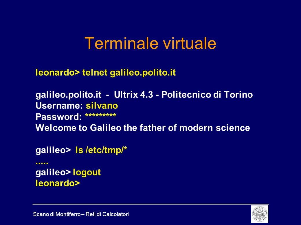 Terminale virtuale leonardo> telnet galileo.polito.it
