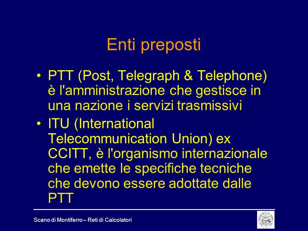 Enti preposti PTT (Post, Telegraph & Telephone) è l amministrazione che gestisce in una nazione i servizi trasmissivi.
