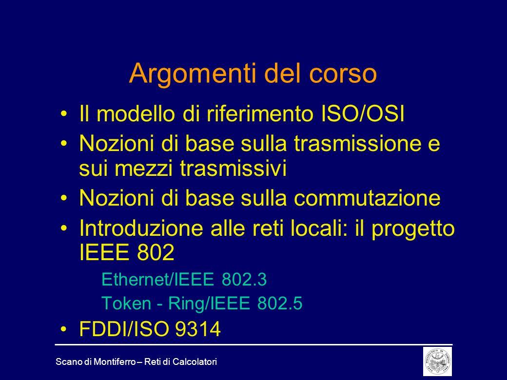 Argomenti del corso Il modello di riferimento ISO/OSI
