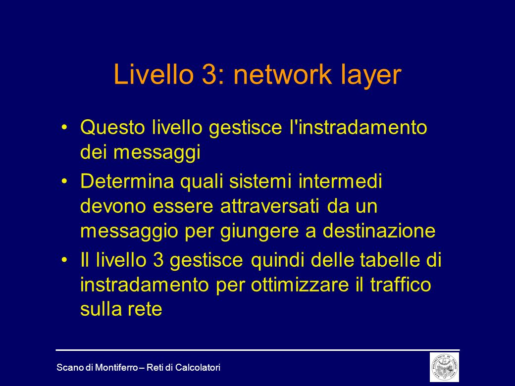 Livello 3: network layer